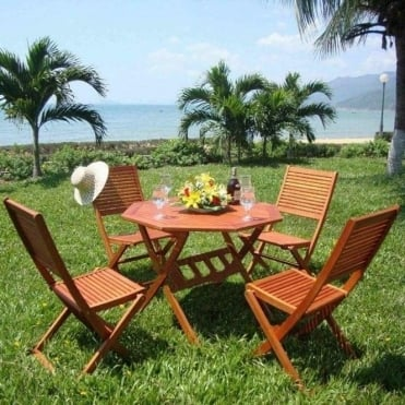 4 Seater Octagonal Wooden Dining Set