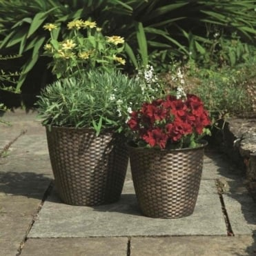 Basket Weave Planters - Pack of Two