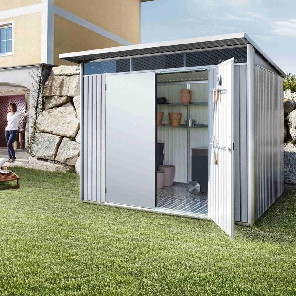 Biohort avantgarde large metal pent shed 8x7 garden street for Garden shed large