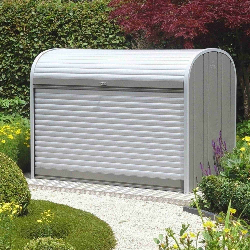 Biohort storemax 190 roll top metal storage box 6x3 for Garden shed 6x3
