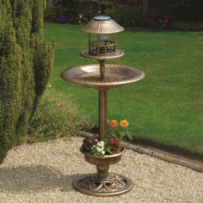 Greenhurst Bird Bath & Feeder With Solar Light & Planter