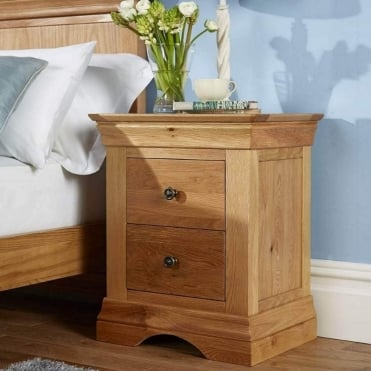 Breton Solid Oak 2 Drawer Bedside Table