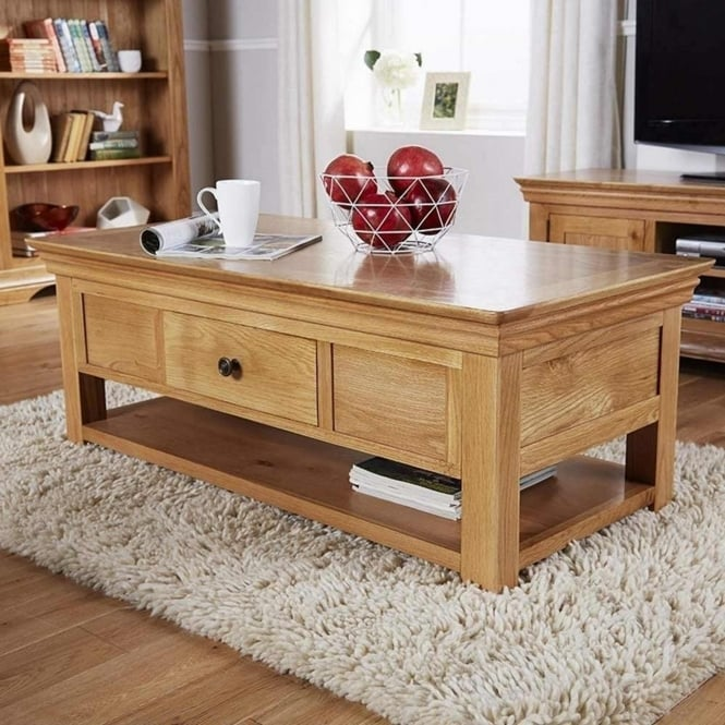 Rowlinson At Home Breton Solid Oak 2 Drawer Coffee Table With Shelf