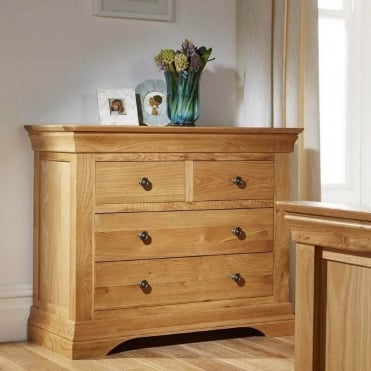 Breton Solid Oak 2 Over 2 Chest of Drawers