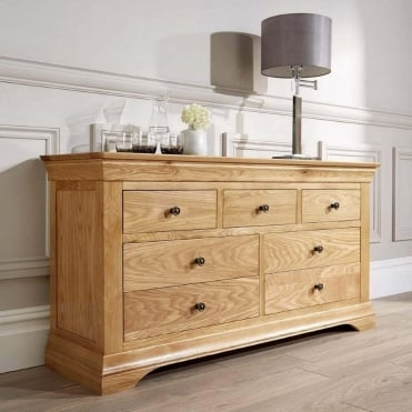 Breton Solid Oak 3 + 4 Chest Of Drawers