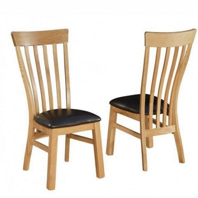 Rowlinson At Home Breton Solid Oak Dining Chairs x 2