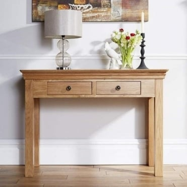 Breton Solid Oak Hall Console Table