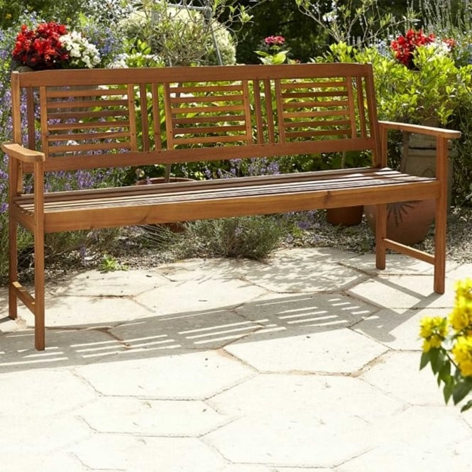 Brundle 3 Seater Acacia Wooden Bench