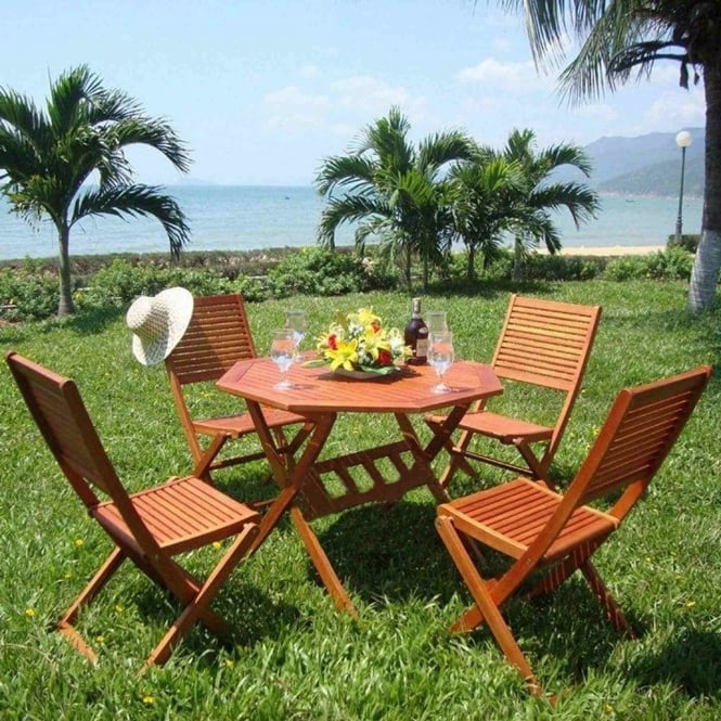 Brundle 4 Seater Octagonal Wooden Dining Set