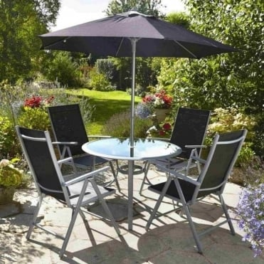 Aluminium Textilene Mix 4 Seater Dining Set