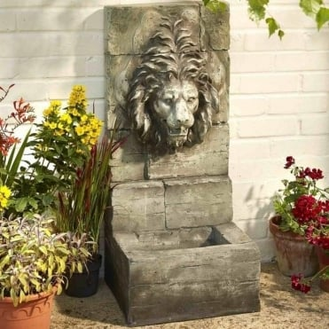 Grey Stone Lion Water Feature