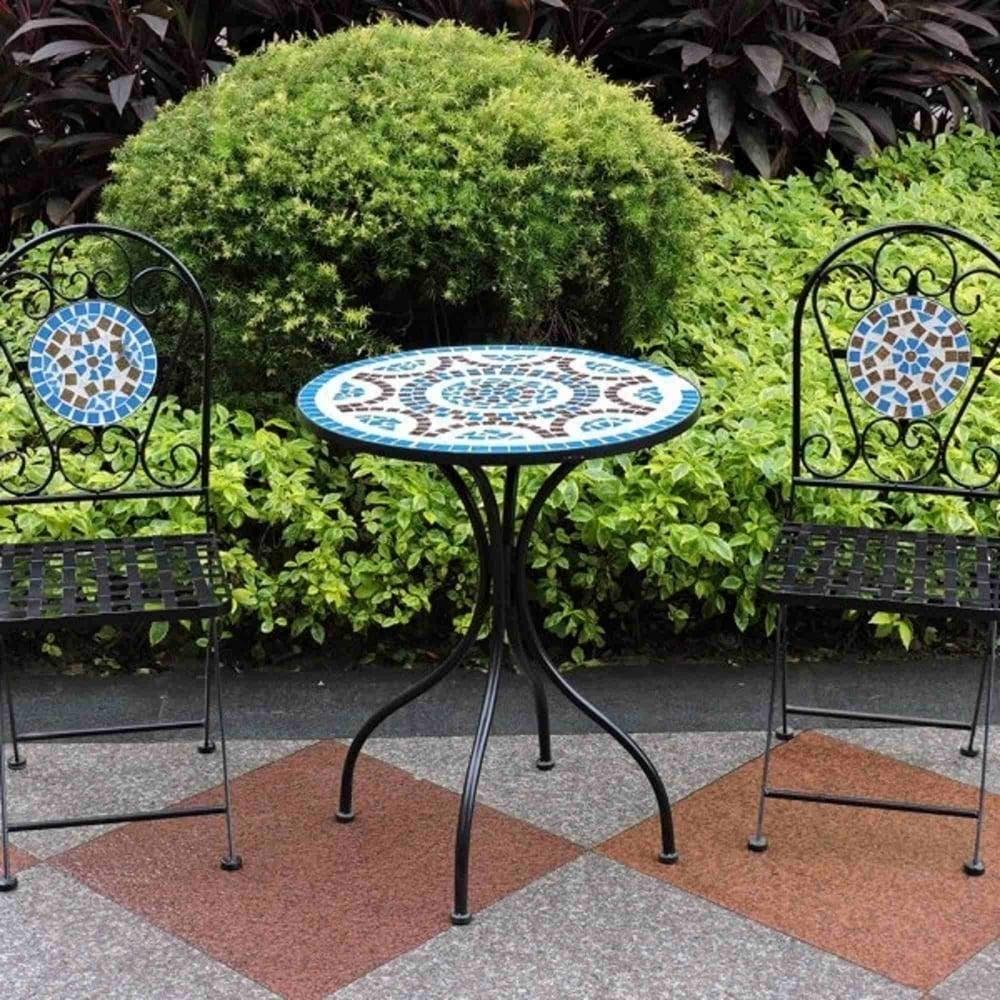 Brundle Gardener Mosaic Bistro Set With Blue Tile Design