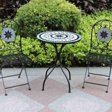 Mosaic Bistro Set With Star Tile Design