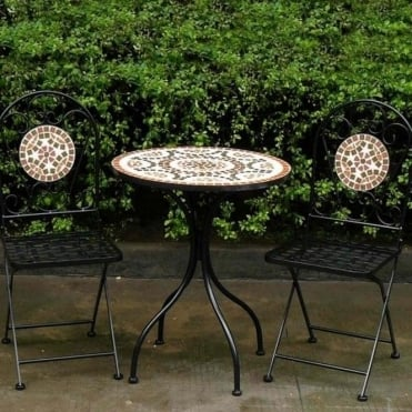 Mosaic Bistro Set With Terracotta Tile Design