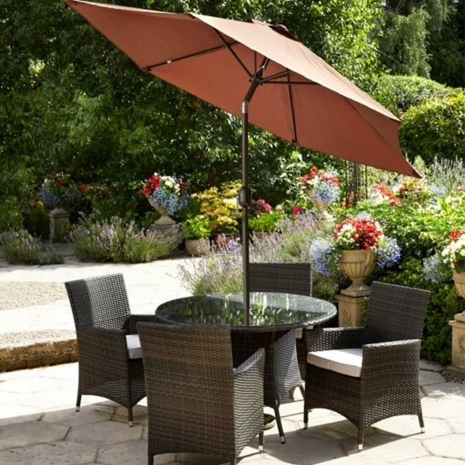 Brundle Rattan 4 Seater Dining Set with Parasol