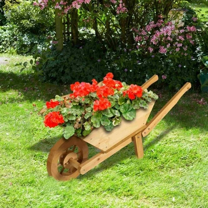 Brundle Wooden Wheelbarrow Planter