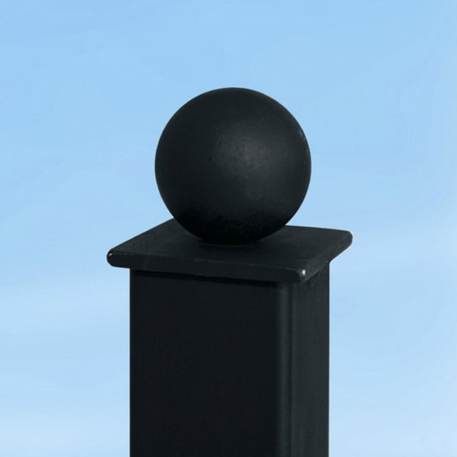 Burbage Ball Top Bolt Down Metal Railing Post 0.5m