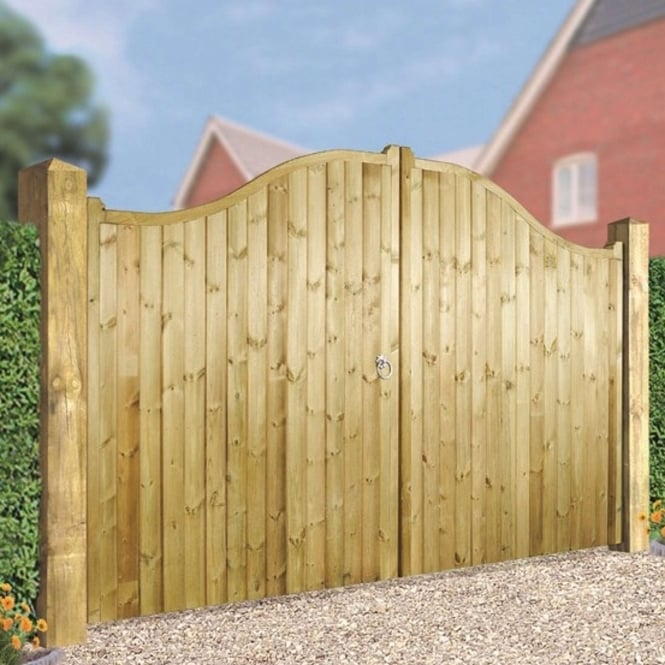 Burbage Drayton Arch Top Tall Double Wooden Gate Garden