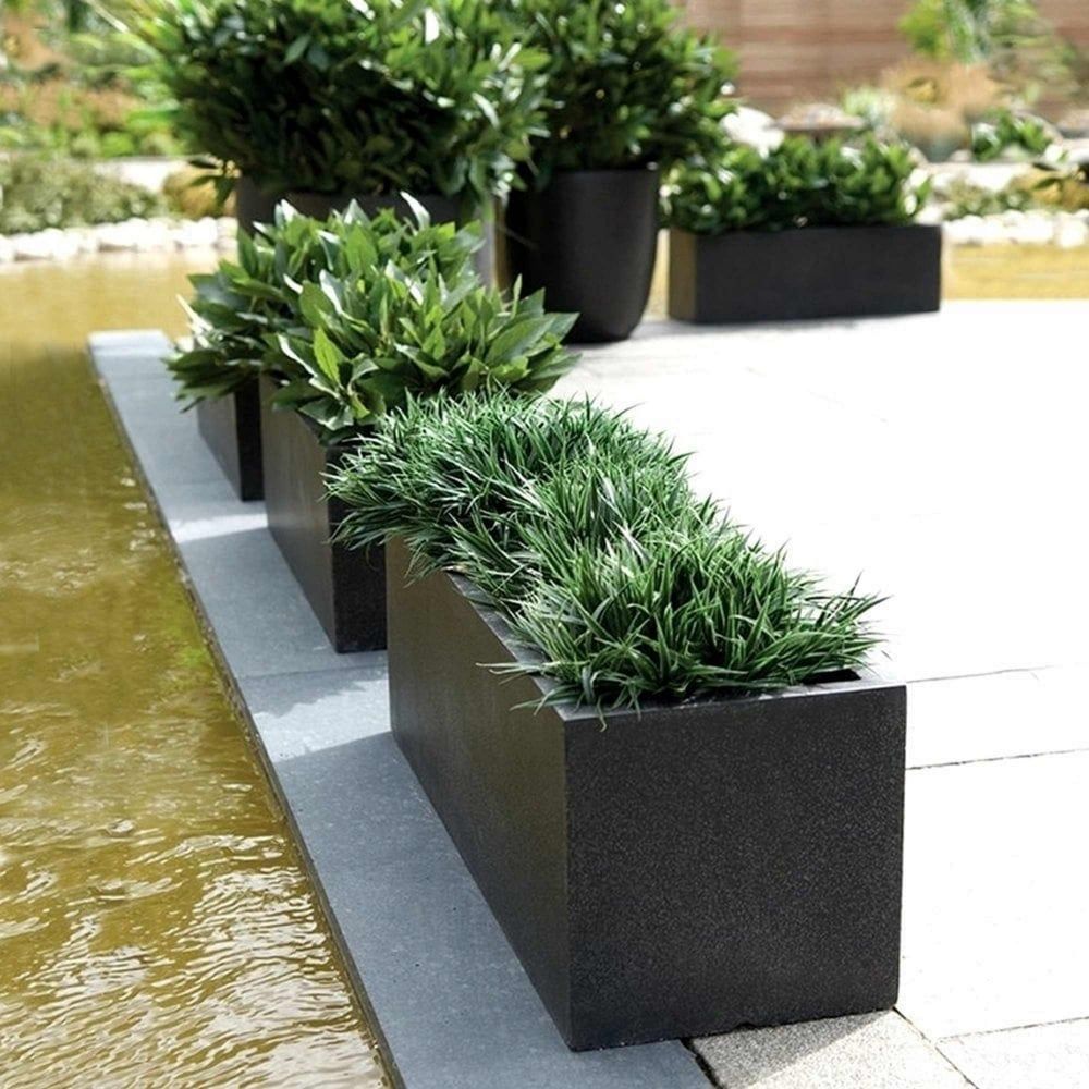 pennington planter the in wood dark flame rectangle p planters