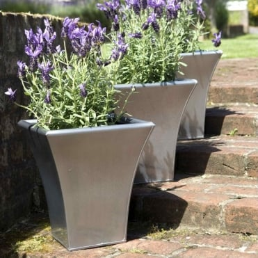 Metal Flare Planter Silver