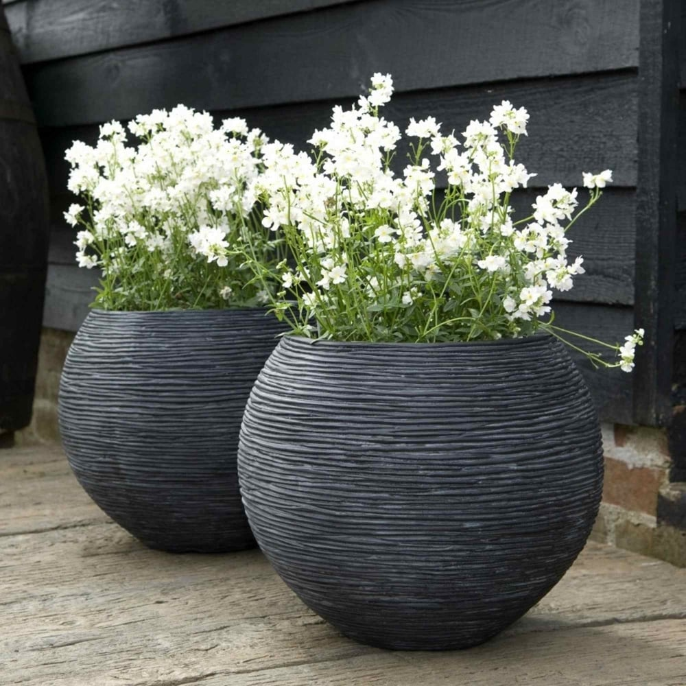 Cadix Ribbed Vase Ball Planter Garden Street