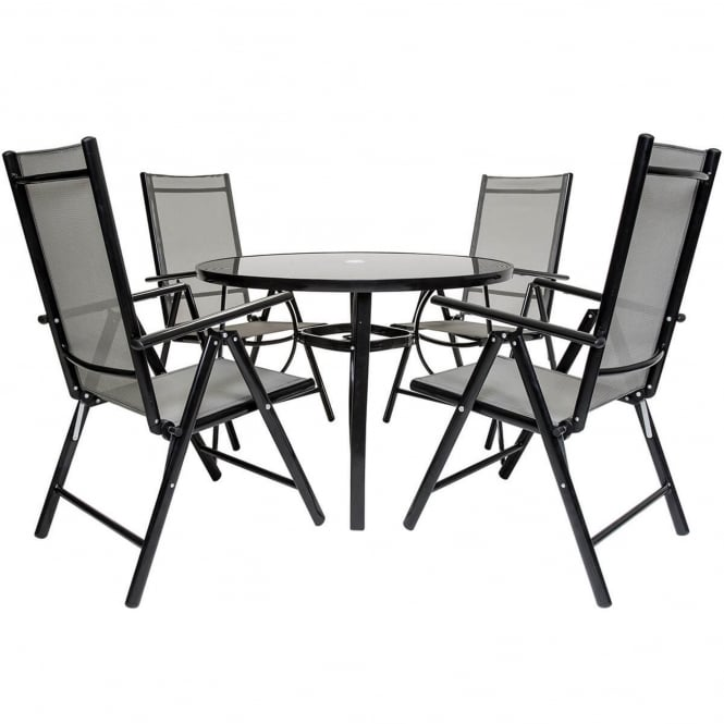 Charles Bentley 4 Seater Mesh Round Dining Set