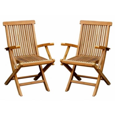Pair Of Wooden Teak Folding Arm Chairs