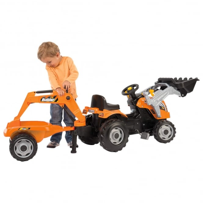 Smoby Builder Max Orange Children's Tractor With Trailer