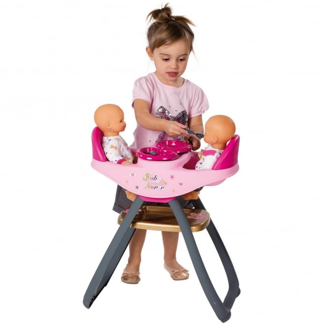 Smoby Children's Doll Twin Seat Highchair & Rocker