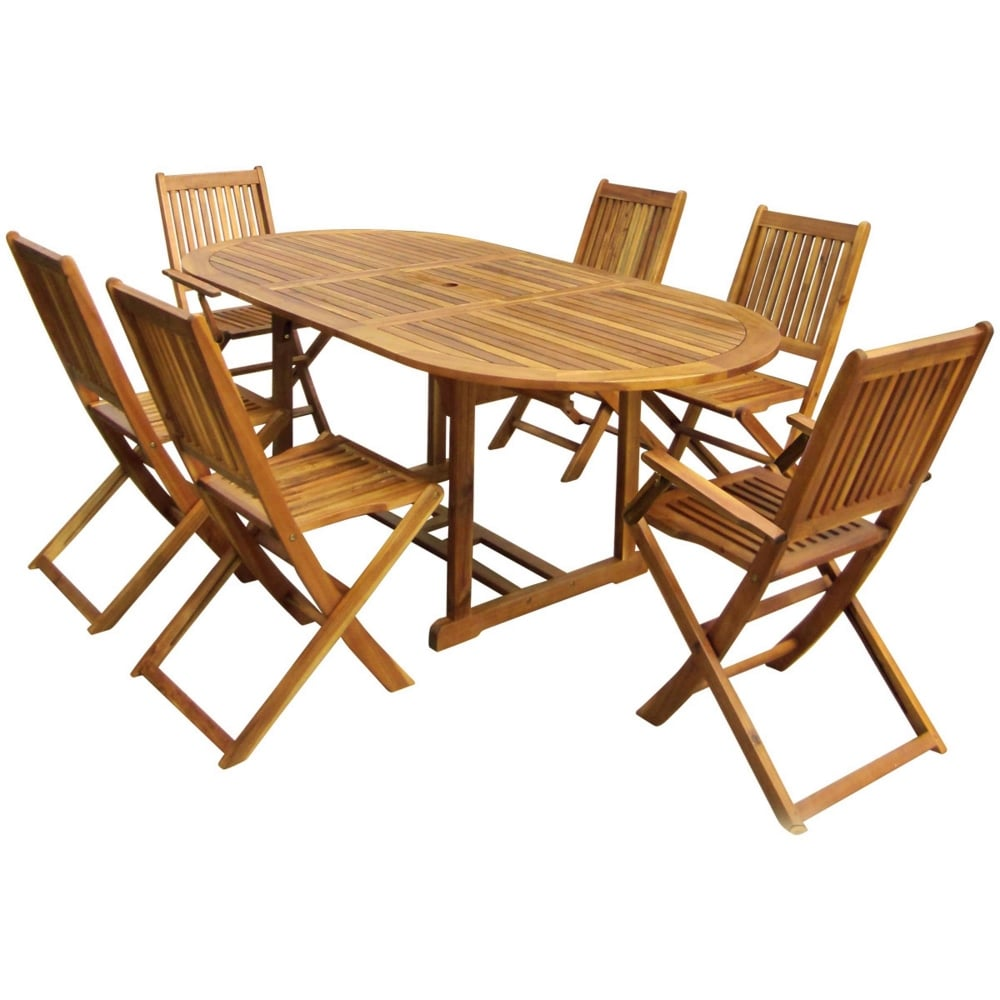 Charles Bentley Wooden 6 Seater Oval Dining Set | Garden ...