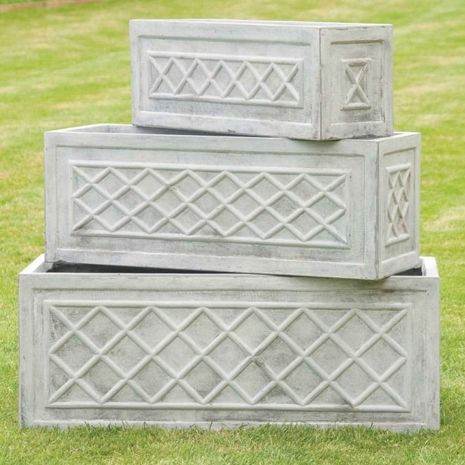 The Garden Feature Company Classic Trough with Lattice Detail Light Grey Set of 3 Planters