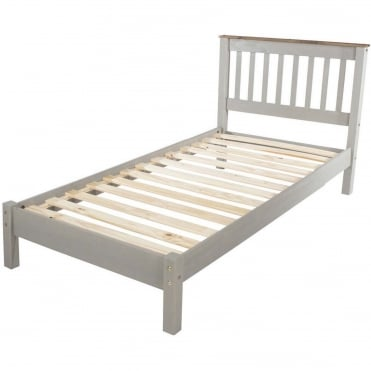 Corona Grey Single Low End Bed Frame