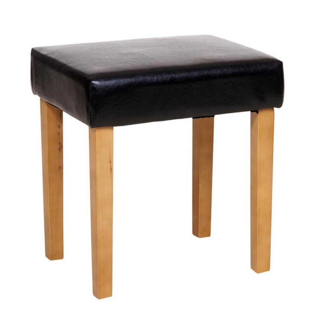Excellent Faux Leather Stool Black Evergreenethics Interior Chair Design Evergreenethicsorg