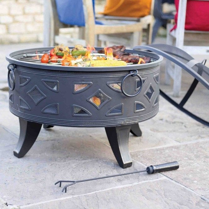 La Hacienda Diamond Deep Steel Firepit With Grill