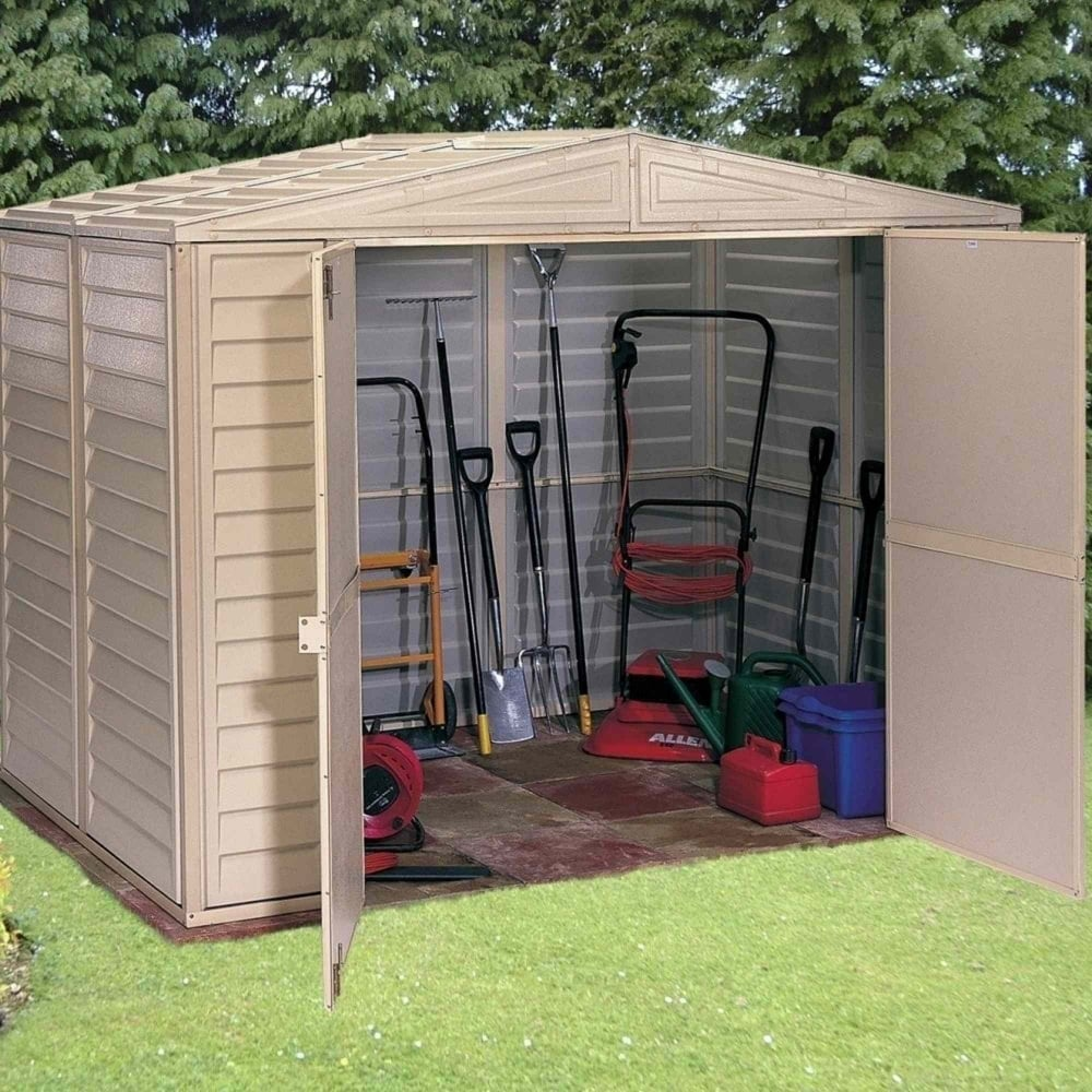 Duramax duramate plastic apex shed 8x5 garden street for Garden shed 8x5