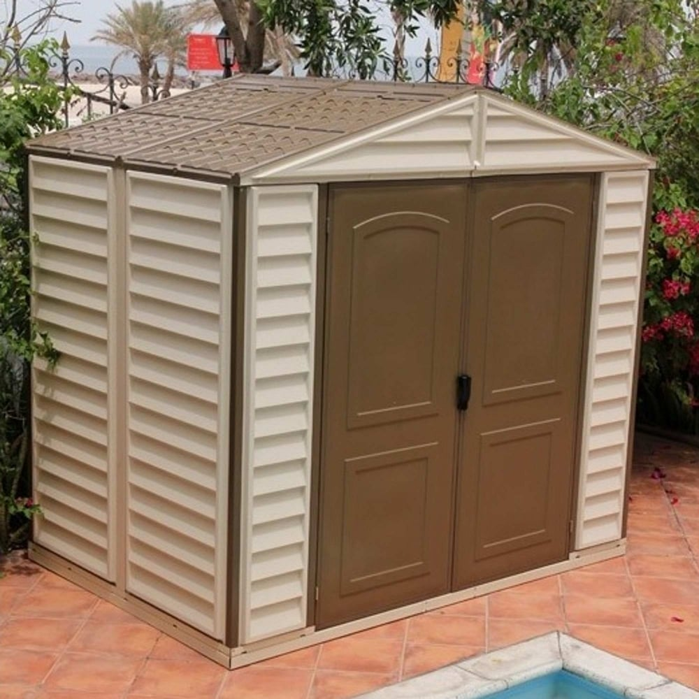 Duramax woodside plastic apex shed 8x6 garden street for Garden shed 8x6