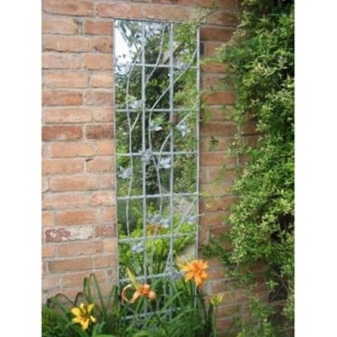 Galvanised Metal Leaf Trellis Garden Mirror