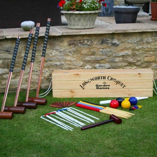 Garden Games Longworth 4 Player Croquet Set in Pine Box
