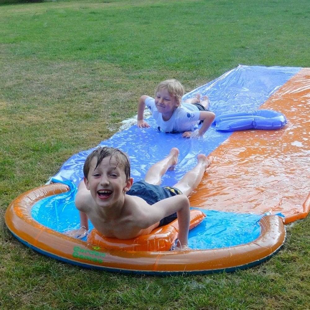 garden games racing water slide garden street. Black Bedroom Furniture Sets. Home Design Ideas