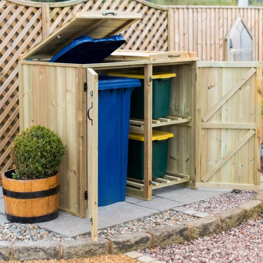 garden village 1 wheelie bin 2 recycle box store. Black Bedroom Furniture Sets. Home Design Ideas