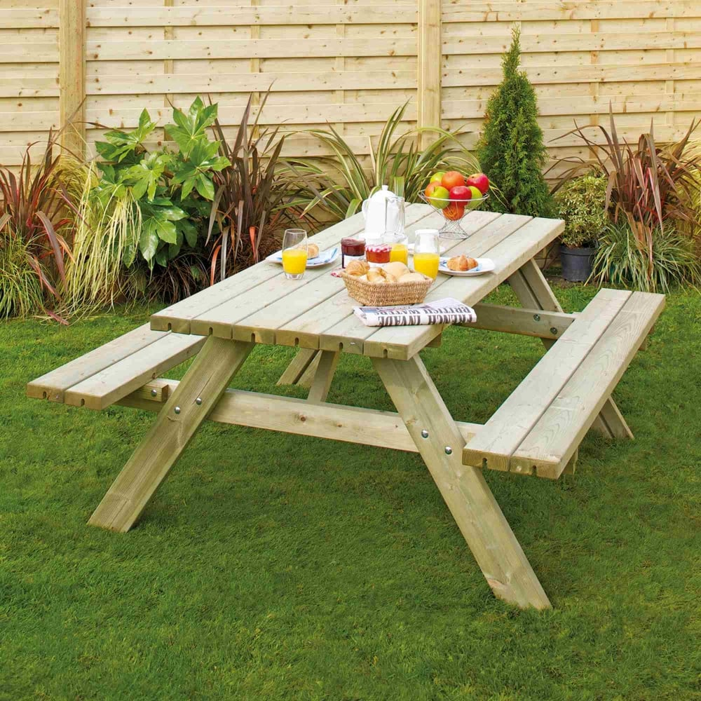 Grange Rectangular Picnic Bench With Fold Up Seats