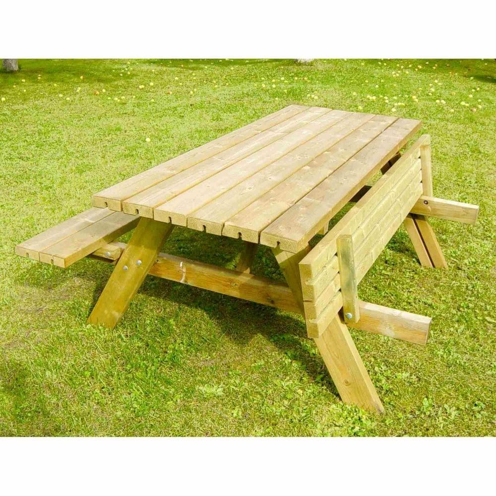 Grange Rectangular Picnic Bench With Fold Up Seats   Garden Street