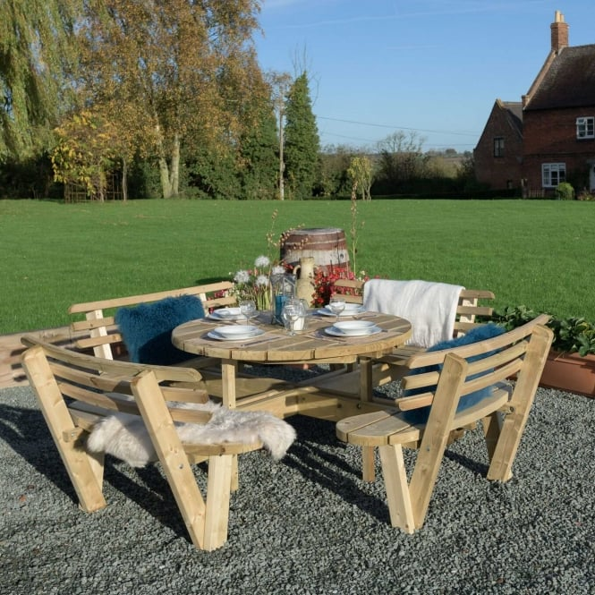 Grange Round Table & Seats with Backrests