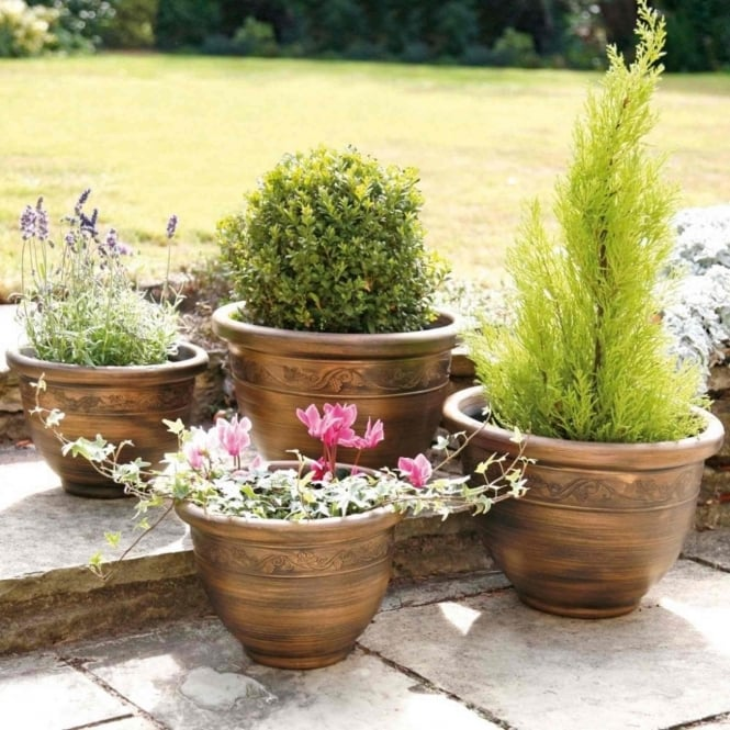Greenhurst Antique Bronze Effect Planters - Pack Of Four