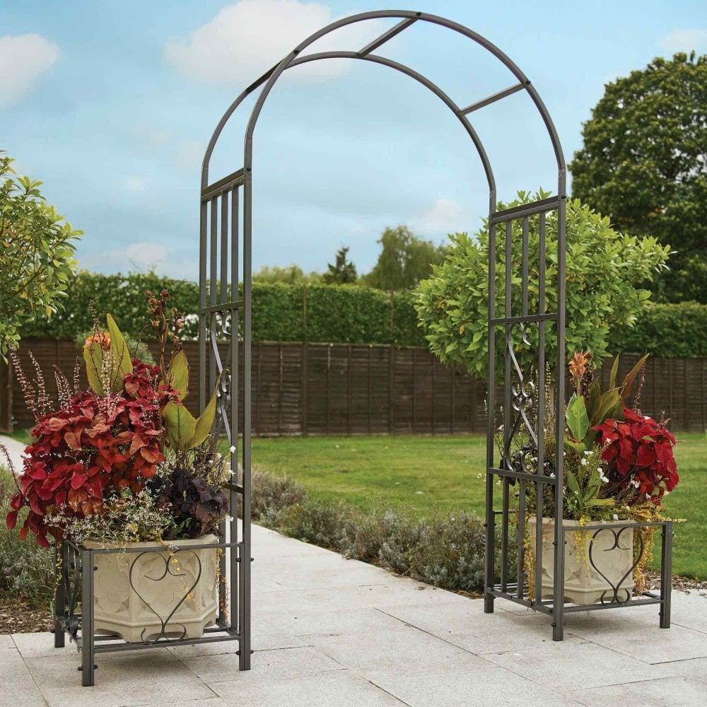 Ornamental Metal Round Top Garden Planter Arch: Greenhurst Huntingdon Ornamental Arch With Planters