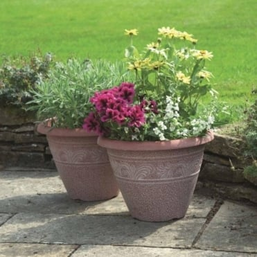 Textured Planters - Pack Of Two With Two FREE Hanging Baskets