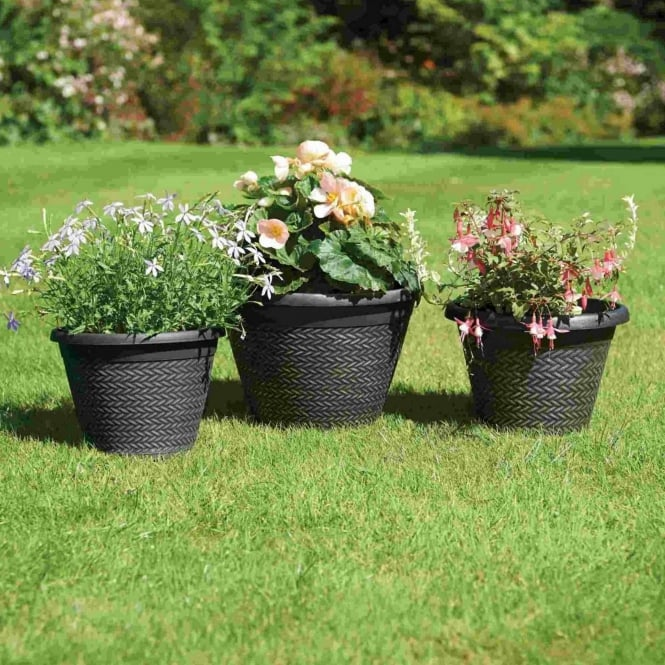 Greenhurst Wicker Effect Planters - Pack Of Three