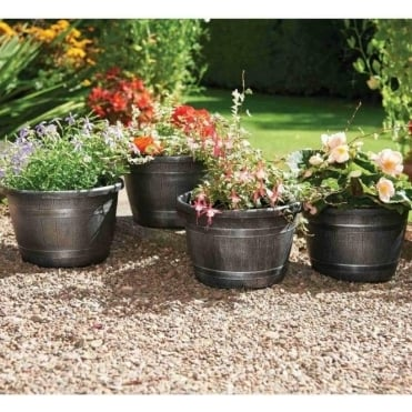 Wood Effect Barrel Planters - Pack of Four
