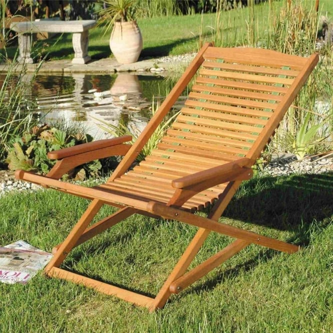 Lifestyle Hardwood Sun Deck Chairs - Set Of 2
