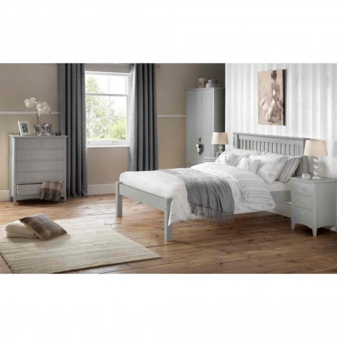 Image of Barcelona Double Bed - Low Foot End Dove Grey